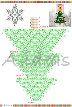 Crochet chart for a christmas tree Crochet Christmas Decorations, Christmas Tree Pattern, Crochet Christmas Ornaments, Christmas Crochet Patterns, Holiday Crochet, Xmas Tree, Christmas Projects, Christmas Diy, Diy And Crafts