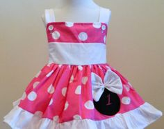 Minnie Mouse Dress Halter Dress Hot Pink Yellow by FunUpTownGirls