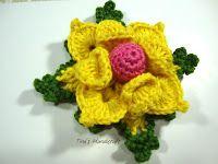 Tina's handicraft : 3D crochet motif  flower No 14