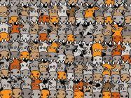 Existem mais de 30 desafiosaqui no site. Tem vários com pandas escondidos entre metaleiros, bonecos de neve, pessoas, personagens de filmes, entre outros. Gatos perdidos em vários lugares, mulher escondida na mercearia, animais camuflados, enfim, diversos desafios intrigantes.Nesse novo desafio, há um cachorro completamente perdido nesse enorme rebanho de vacas, ...