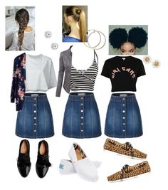 """multi-outfit ft. denim skirt✨"" by angeliqueamor on Polyvore featuring LE3NO, Puma, River Island, TOMS and Topshop Unique"