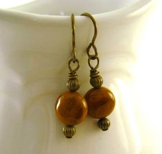 Golden brown #earrings