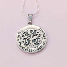 Personalised family tree necklace hand by EmsStampedJewellery