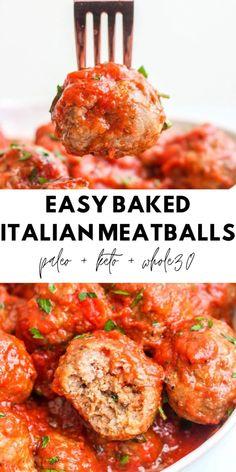 Baked Italian Meatballs, Whole 30 Meatballs, Healthy Beef Meatballs, Paleo Whole 30, Whole 30 Recipes, Paleo Recipes, Real Food Recipes, Paleo Meals, Healthy Dinners