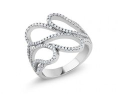 chicmarket.com - Beverly Hills Silver Sterling Silver Diamond Fancy Ring - 6