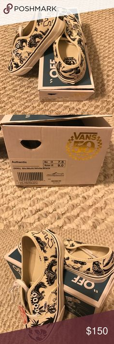 RARE employee only Vans: make an offer Brand new, never worn, NEVER SOLD authentic vans. These were given to employees for the 50th anniversary of vans. They have pirates and dinos on them. Men's size 7.5 or women's 9. Make an offer Vans Shoes Sneakers