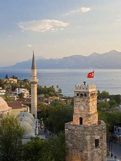 Clocktower and Tekeli Memet Pasa Mosque, Antalya, Turkey....