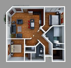 home layout plans 553098397985653193 - Plan View Render of Unit Source by Sims House Plans, House Layout Plans, Dream House Plans, House Layouts, House Floor Plans, 6 Bedroom House Plans, Small Apartment Layout, Small Modern House Plans, Espace Design