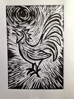 Lino cut cockerel
