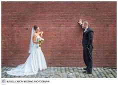 Angela and Tom on Wharf Street, Portland Maine. Portland Maine wedding, Portland Westin Harborview wedding
