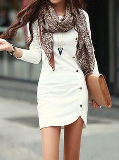Buttons Design Long Sleeve Round Neck Pullover Women's Dress