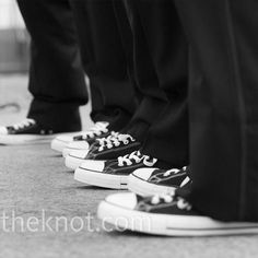 Terry wanted a modern look for his groomsmen, so they all wore black Converse sneakers. Groomsmen Shoes, Groom Shoes, Groom And Groomsmen, Black Converse, Converse Sneakers, Vans, Wedding Wear, Wedding Shoes, Wedding Bells
