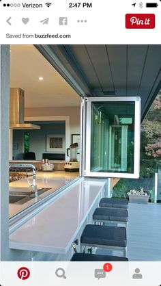 Bring the outdoors IN with these accordion glass windows and doors. Much less pricey than accordion doors, but with the same effect. outdoors inside interiors Bring the outdoors IN with these accordion glass windows and doors. Home Renovation, Home Remodeling, Kitchen Remodeling, Remodeling Companies, Deck Renovation Ideas, Cheap Remodeling Ideas, Accordion Doors, Sweet Home, Outdoor Kitchen Design