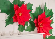 Poinsettia Flower, Christmas Poinsettia, Christmas Flowers, Diy Christmas Tree, Christmas Images, Christmas Decorations, Merry Christmas, Xmas, Large Paper Flowers