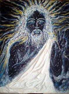 """""""Resurrección"""", Técnica: Collage y Mixta sobre tela, Medidas: 60x80 Centímetros, Año:2007, Autor: Gianni Fedele Mazza."""