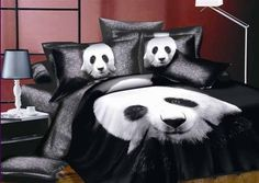 girlsbeddingplus.com - Panda Bedding 4PC Set, Black and White 4PC Panda Bear Bedding Set.    Luxurious, soft and durable fabric.    3D Oil painting style.    Set Includes:  2 x Pillowslip 48 x 75cm  1 x Flat Sheet 250 x 250cm  1 x Quilt Cover 200 x 230cm  Free Shipping  (http://www.girlsbeddingplus.com/panda-bedding-4pc-set/)