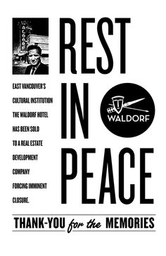 East Vancouver's cultural institution the Waldorf Hotel has been sold to real estate development company Culture Industry, News Space, Real Estate Development, Entertainment Weekly, Vancouver, How To Apply, Peace, Shit Happens, Words