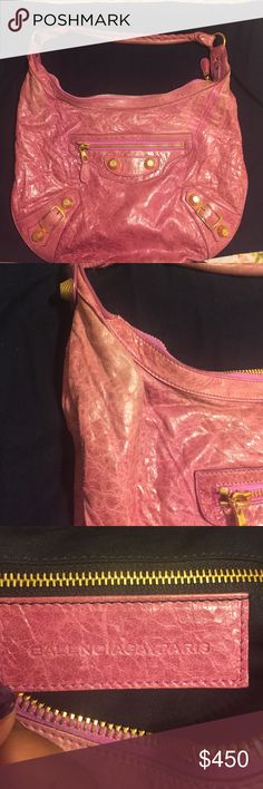 🌺Classic Balenciaga Arena Pink Purse🌺 Beautiful Light Pink Handbag. Goes well worn for day and night. Had some discoloration on top sides ( see photo ) but looks good. Gold hardware adds to the lovely design. Interior is very clean, smoke free home. Thank you for watching. Will come with a dust bag but not the original one. Balenciaga Bags Shoulder Bags