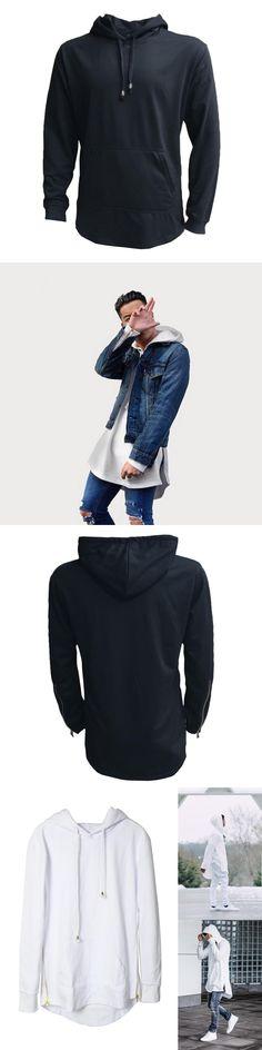 Streetwear Men Women Long Hoodies Sweatshirt Side Zip Longline Hip Hop Hooded Pullover Autumn Tops FS99