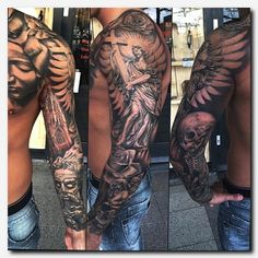 Based on size and degree of detail, tattoos can vary from a sit-down to many multi-hour sessions. Sleeve tattoos are famous among women and men both. The sleeve tattoos offer you a selection of designs to choose from. Dope Tattoos, Badass Tattoos, Body Art Tattoos, Tattoos For Guys, Tatoos, Awesome Tattoos, Payasa Tattoo, Jesus Tattoo, Full Tattoo