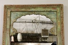 Distressed Fern Green Turquoise Antique Indian Door Repurposed Large Mirror