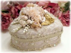 Decorative Beaded Boxes Wedding Keepsake Box Fabric Covered Gift and Keepsake Boxes Wedding Keepsake Boxes, Wedding Keepsakes, Wedding Boxes, Shabby Chic Boxes, Shabby Chic Crafts, Shabby Chic Decor, Fabric Covered Boxes, Shaby Chic, Beaded Boxes