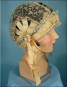 c. 1920's  Boudoir Lace Cloche Cap