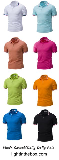 19f7b18b4 Men s Casual Daily Sports Simple Active Summer Polo Button Shirts