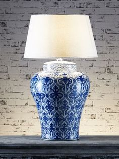 A charming, classic porcelain lamp, hand-painted with a classic pattern. Table Lamp Base, White Table Lamp, Lamp Bases, Light Table, Ceramic Table Lamps, Mason Jar Lamp, Light Up, Blue And White, Vase