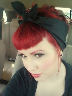 Love the shape of the bangs and the bandanna. One of my favorite styles