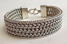 Vintage Sterling Silver 925 Bracelet Woven Bali Style 44 Grams