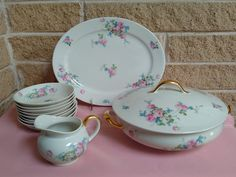 CH Field Haviland Limoges France Dinnerware - Covered Serving Bowl Platter 8 Small Bowls & Creamer - Pink Roses Blue Flowers - - SALE by ClassyVintageGlass on Etsy Blue Flowers, Pink Roses, Vintage Dinnerware, Canister Sets, Apothecary Jars, Casserole Dishes, Sugar Bowl, Platter, Serving Bowls