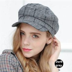 c3fd437e9c2 Plaid newsboy cap for women casual winter wool baker boy hat