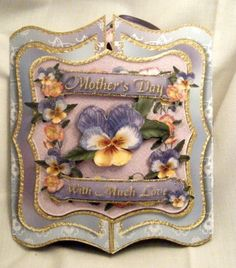 Handmade Greeting Card - Gate Fold Pansy Bouquet 3D Mother's Day Card