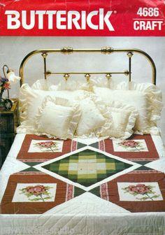 Beautiful-Vintage-Butterick-4686-Quilt-Pattern-Cross-Stitch-Rose-Panels-FF
