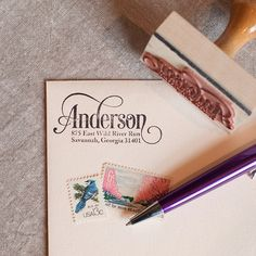 Custom return address stamp SERIF SCRIPT DESIGN with wood handle - calligraphy stamp on Etsy, $27.00