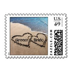 Two Hearts In Sand Wedding Love Beach Stamps
