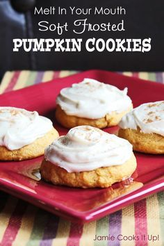 Melt in Your Mouth Soft Frosted Pumpkin Cookies from Jamie Cooks It Up!