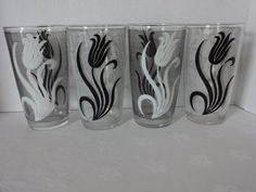 Vintage Set of Striped Tumblers with White and Black Tulips | SelectionsBySusan - Kitchen & Serving on ArtFire