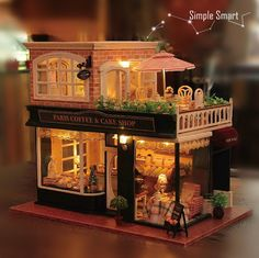 1:24 Miniature Dollhouse  DIY Kit Paris Coffee and Cake Shop with LED Light Music Box Cute Room House Model French Coffee Journey