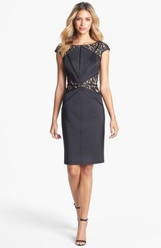 Tadashi Shoji Lace Inset Jersey Sheath Dress available at #Nordstrom