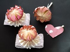 freshly found -Paper Protea  Boutonniere and Bracelets for a wedding