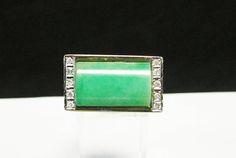 Vintage Estate Modernist Men's 14K  Translucent Green