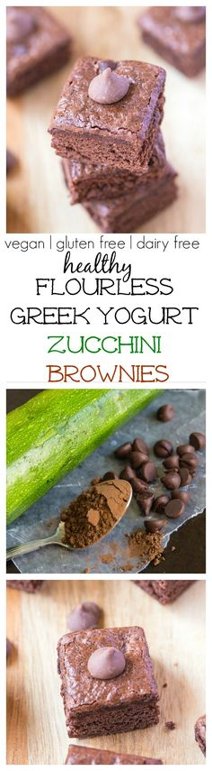 Greek Yogurt Zucchini Brownies- An easy, healthy snack or dessert- Vegan, Gluten Free, Dairy Free and refined sugar free! Gluten Free Sweets, Gluten Free Baking, Dairy Free Greek Yogurt, Greek Yogurt Dessert, Vegan Yogurt, Greek Yoghurt, Healthy Desserts, Dessert Recipes, Healthy Foods