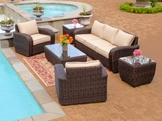 Wicker Designs Biscayne 4 Pc. Resin Wicker Sofa Group is like bringing your most comfortable sofa and chairs outside!  Looks great with low maintenance.