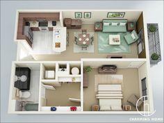 mẫu thiết kế nhà chung cư 50m2 4
