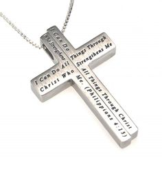 Spirit and Truth Christian Jewelry - Christ My Strength Iron Cross Necklace #D-ST-GIC-CMS