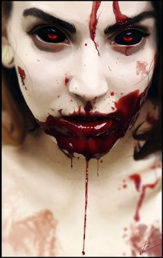These eyes are gorgeous. The blood is a nice effect, but her eyes look like gems and I can't stop staring.