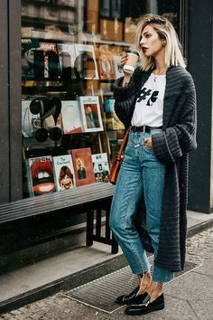 Long sweater with cropped jeans and graphic t-shirt.  See more at www.herstyledview.com