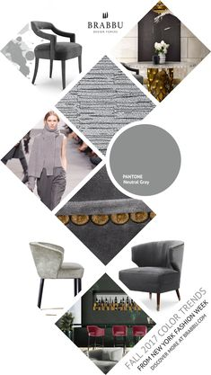 Fall 2017 Color Trends From London Fashion Week: Neutral Gray | Interior Design Inspiration @Pantone #colortrends #falltrends #colors See more inspiration: https://www.brabbu.com/moodboards/